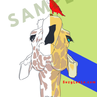 giraffe bird coloring page sample