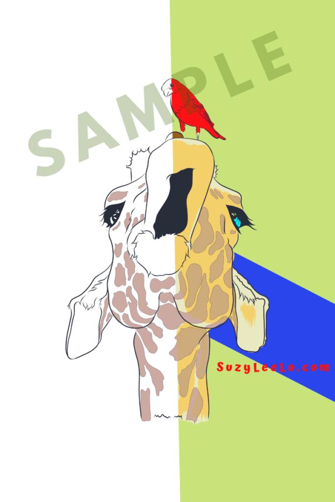 giraffe bird coloring page sample