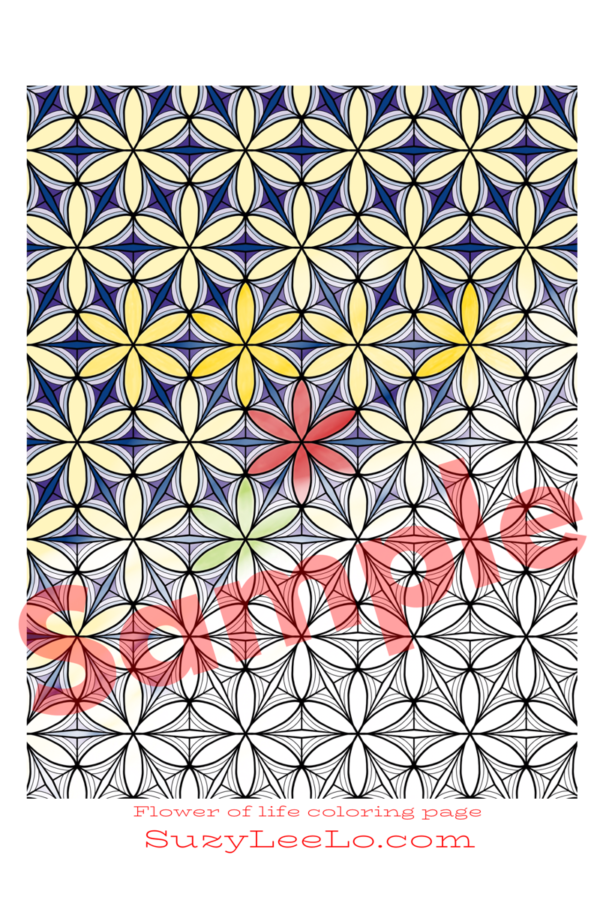 Flower of Life Pattern Coloring Page for Adults