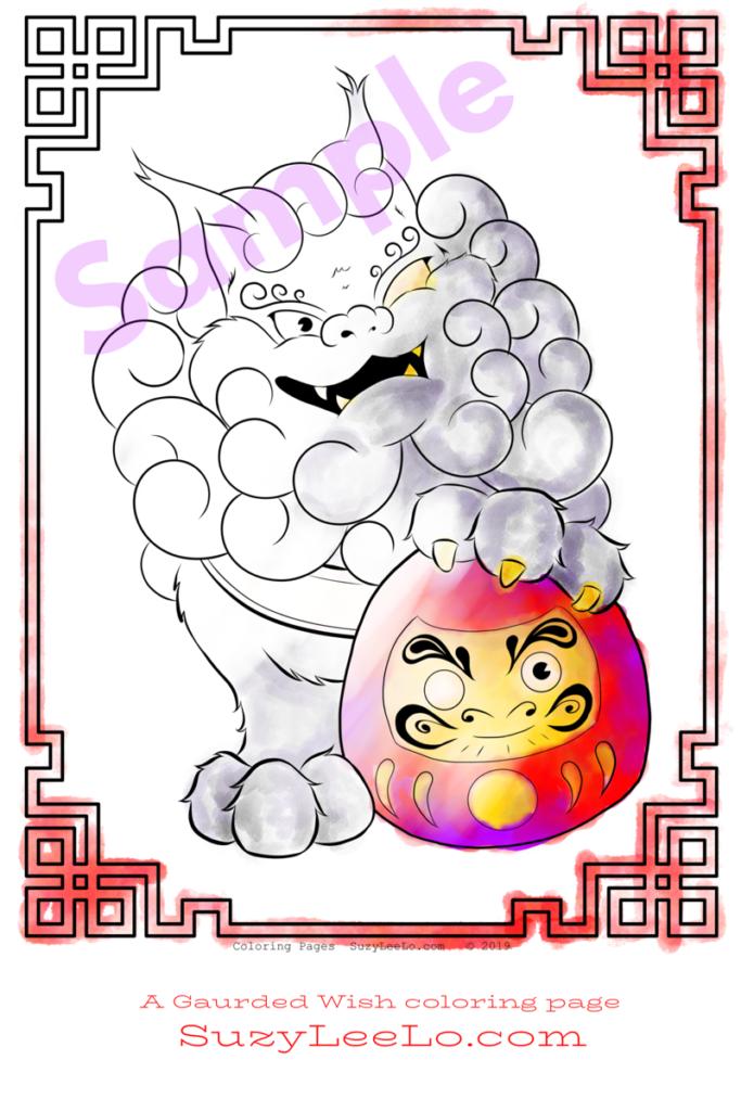 Daruma Doll and Foo Dog coloring page