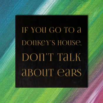 If you go to a donkey's house, don't talk about ears